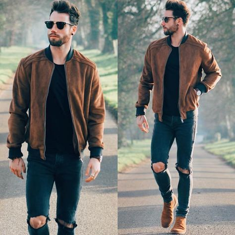 suede-bomber-jacket Suede Jacket Outfits for Men- 20 Ways to Wear a Suede Jacket