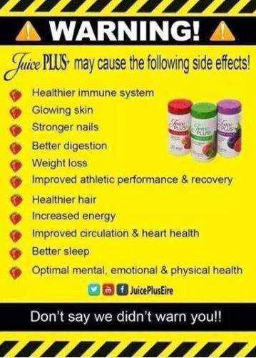 I can't quite decide, which is my favorite ‪#‎SideEffect‬ from using JuicePLUS+! Your results my be different, but just about every medical condition can be improved with ‪#‎BetterNutrition‬. ‪#‎LiveLifeToThePLUS