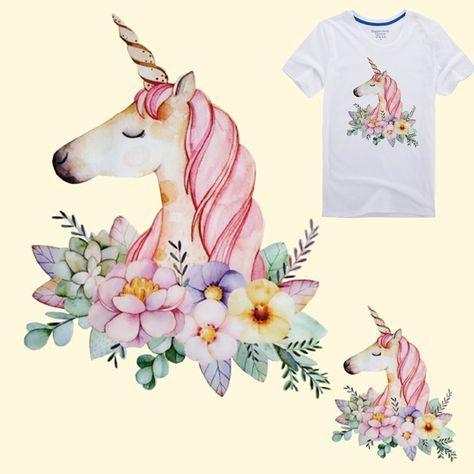1.0AUD - T-Shirt Dresses Heat Transfer Applique Cartoon Unicorn Washable Patch #ebay #Home & Garden