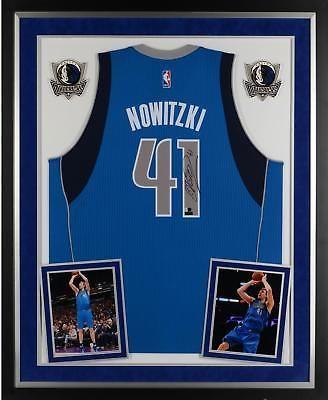 on sale be47a 882e5 Dirk Nowitzki Dallas Mavericks Framed Signed Blue Adidas ...