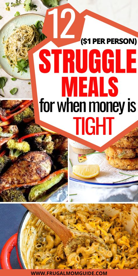 If you are on a tight budget & looking for recipes for struggle meals, these 12 cheap meals will be perfect! Cheap Meals For Two, Cheap Healthy Dinners, Cheap Meal Plans, Cheap Family Meals, Cheap Easy Meals, Dinner Recipes Easy Quick, Frugal Meals, Budget Meals, Easy Budget