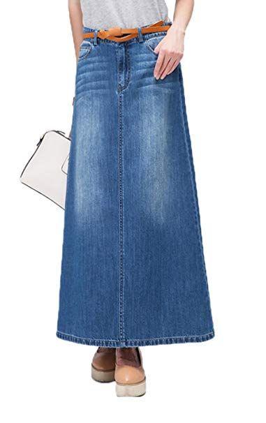 High Waisted A-Line Long Denim Skirts for Women/'s Maxi Pencil Jean Skirt