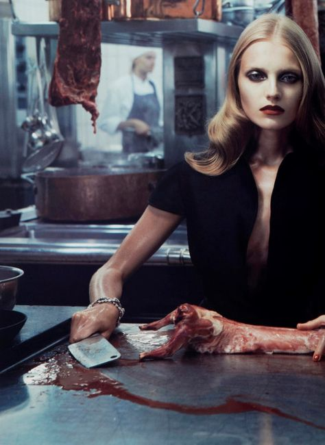 """Le Boucher"" Anna Jagodzinska photographed by Mikael Jansson,Stockholm,Operakällaren, 2008 #inspiration #blog #blogger #tumblr #fashion #style #models #photography #vogue http://www.midnight-charm.com/"
