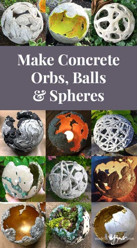 Make Concrete Orbs, Balls & Spheres - Made By Barb - many tutorialsYou can find Concrete garden and more on our website.Make Concrete Orbs, Balls & Spheres - Made B. Diy Concrete Planters, Cement Art, Concrete Crafts, Concrete Art, Concrete Garden, Rock Planters, Concrete Casting, Wall Planters, Garden Crafts