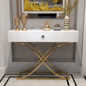 White Console Table With Drawer Entryway Table Contemporary For Hallway X Gold Base In 2020 White Console Table Black Console Table Entryway Tables