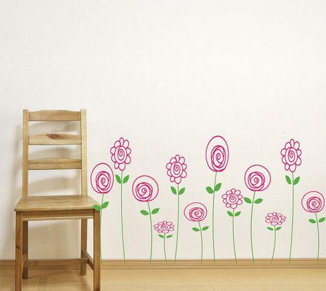 Vinyl Wall Sticker Art Doodle Flowers Nursery Wall Decals