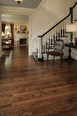THIS is what I want our floors to look like as far as color. coffee brown stained red oak