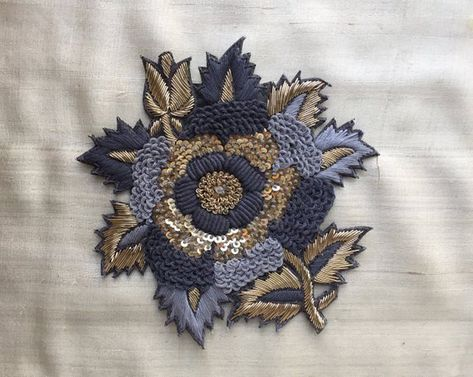 Grey Gold Floral Embroidery Applique,Indian Handmade Cutwork Sequins Zardozi Embroidery Patch,Roses