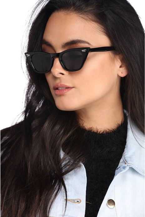 e4849398bbc Black Classic Cat Eye Sunglasses