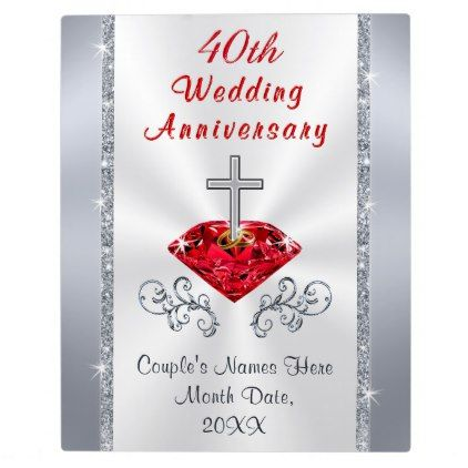 Personalized Christian Ruby Anniversary Gift Ideas Plaque Zazzle Com Anniversary Gifts Ruby Anniversary Gifts 40th Wedding Anniversary