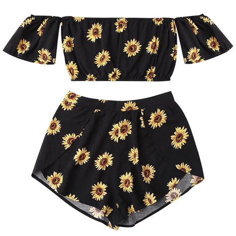 c049ffa779 Sunflower Print Off The Shoulder Crop Top + Shorts in 2019 ...