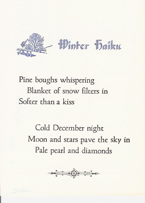 Write haiku poems about winter, snow, and frost | hobbylark.