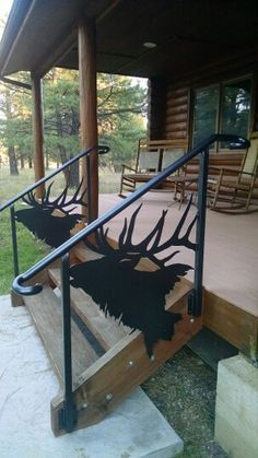 Custom elk head railing.  Perfect for my aunt's Lake Log Cabin <3 <3