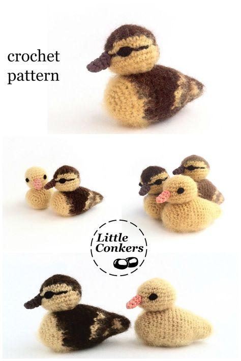 Crochet Amigurumi Dolls Duckling Crochet Pattern by Little Conkers More More - Duckling crochet pattern! Crochet duckling pattern with loads of colo Crochet Birds, Knit Or Crochet, Cute Crochet, Crochet Animals, Crochet Crafts, Yarn Crafts, Crochet Baby, Beautiful Crochet, Crochet Stuffed Animals