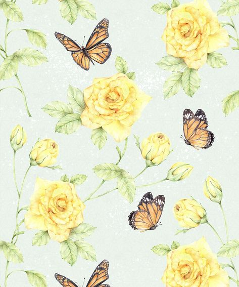 Roses and Butterflies is a floral wallpaper featuring a baby blue background, monarch butterflies float among blooming yellow roses. Shop with Afterpay! Cute Patterns Wallpaper, Wallpaper Samples, Cute Wallpaper Backgrounds, Of Wallpaper, Flower Wallpaper, Cute Wallpapers, Phone Wallpapers, Iphone Wallpaper Yellow, Butterfly Wallpaper Iphone
