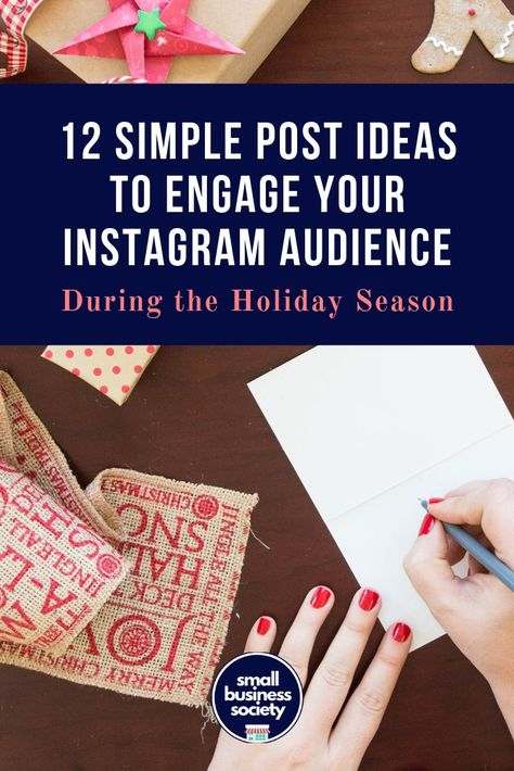 Engage your audience and followers with these 12 content ideas for the holiday season. Create posts for your business with these simple content ideas that will help your marketing strategy right before Christmas. Create posts for Instagram, Facebook or Twitter and engage your followers. #instagram #instagramcaptions #facebookmarketing