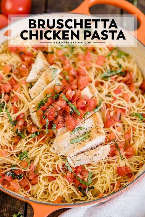 Easy Chicken Bruschetta Pasta   YellowBlissRoad.com