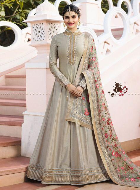 ece767f882 Prachi Desai Vinay Gray Silk Anarkali Suit Online - Liinara