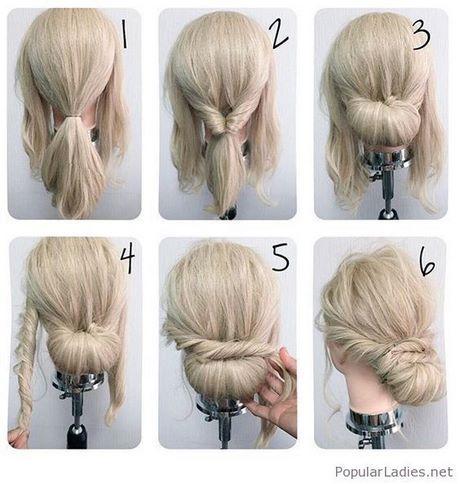 Einfache Brotchen Hochsteckfrisur Brotchen Einfache Hochsteckfrisur Hochsteckfrisuren Mittellanges Haar Frisur Hochgesteckt Diy Hochsteckfrisur