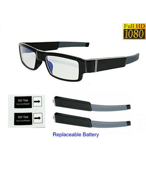 fe7f63419b6eb9 Bril met verborgen camera en wisselbare batterijen HD 1080p ...