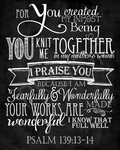 Scripture Art  Psalm 1391314 Chalkboard by ToSuchAsTheseDesigns, $15.00