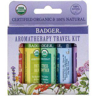 Badger Company Organic Aromatherapy Travel Kit 5 Pack 15 Oz 4 3 G Each Aromatherapy Aromatherapy Balm Essential Oil Roller