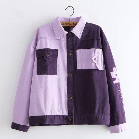 Color Block Letter Embroidery Jacket - Purple / M