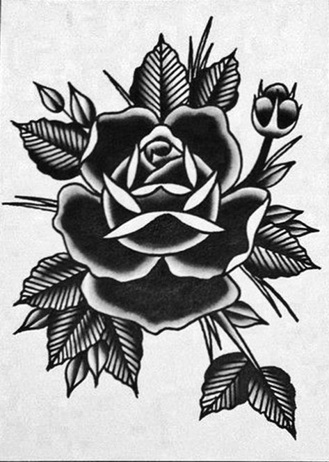 Pin On Flower Tattoo Black And White Traditional