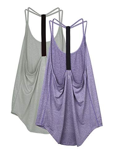 2 in 1 Sport Oberteile Fitness Shirts Loose Fit icyzone Damen Sport Yoga Top mit Integriertem BH