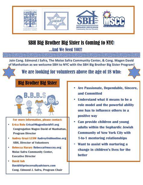 Announcing the Big Brother Big Sister Program! Community - selective service registration form