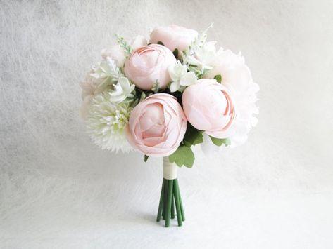 Blush Peonies Bridal Bouquet, Peach Peonies Bridesmaid Bouquet, Wedding Bouquet, Poeny Wedding Bouqu