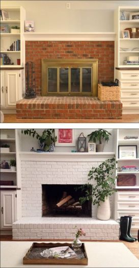 30 Stunning White Brick Fireplace Ideas Part 1 White Brick Fireplace Fireplace Remodel Brick Fireplace Makeover