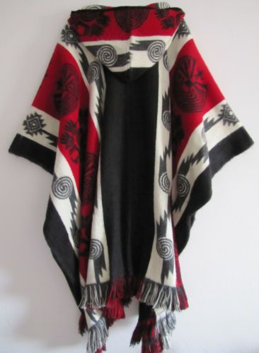 Poncho with Hood Wool Red Coat Mens Cape Indigenous Native Navajo Hopi - Handmade in Ecuador
