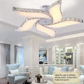 Modern Crystal Flower Chandelier Led Pendant Lamp Ceiling Dining