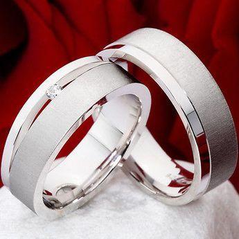 Verlobungsringe Eheringe aus 925 Silber mit Diamant und Ringgravur PSB315