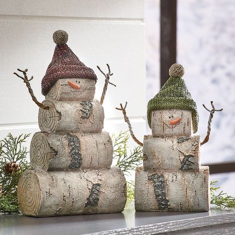 Christmas Wood Crafts, Snowman Crafts, Outdoor Christmas Decorations, Homemade Christmas, Christmas Projects, Holiday Crafts, Birch Christmas Tree, Log Snowman, Winter Wood Crafts