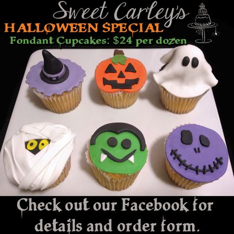 Halloween fondant cupcakes - witch, mummy, dracula, pumpkin, ghost - cupcake order form
