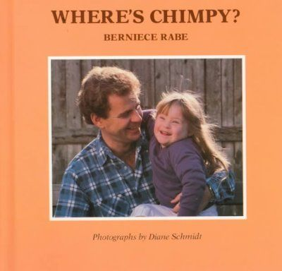 Text and photographs show Misty, a little girl with Down's syndrome, and her father reviewing her day's activities in their search for her stuffed monkey.