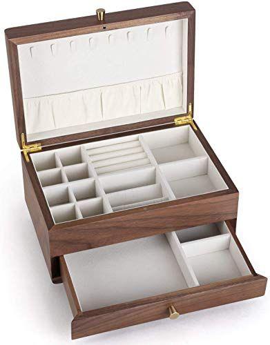 New Chosin Walnut Wooden Jewelry Box Jewels Armoire Jewelry Storage Case Organizer Box Collects Ring Necklace Earring Watch Bracelet Ear Stud Souvenir Online Sh In 2020 Wooden Jewelry Boxes Jewellery Storage