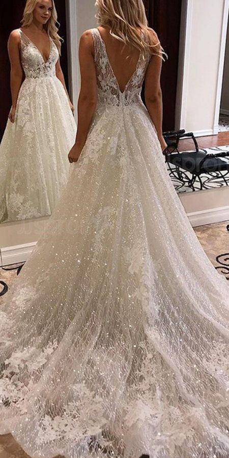 A Line V Neck Lace Wedding Dresses Wedding Dress Custom Made Wedding Gown Bridal Gown Ohd175 In 2020 Wedding Dress Sequin Ivory Lace Wedding Dress Wedding Dresses