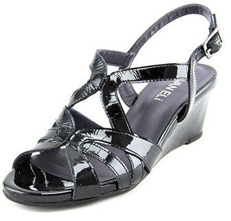 Vaneli Miriam Women Open Toe Patent Leather Black Wedge Sandal | Black  wedge sandals and Products