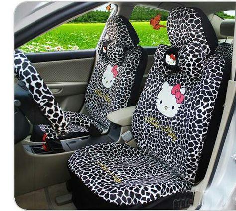 Car Seat Covers Zebra Hello Kitty Cartoon Universal Car Interior 18 Pieces