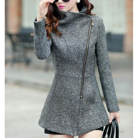 Simple Turn-Down Neck Long Sleeve Zipper Design Women's Coat. The shorts are an interesting choice to go with this coat. I'd opt for pants.