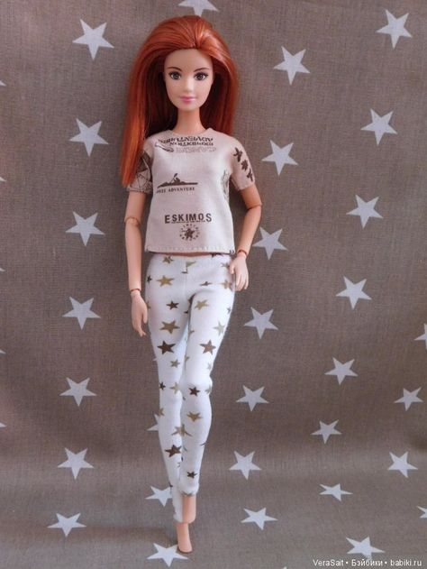 №279 Clothes for Curvy Barbie Doll Flannel Pajamas for Dolls.