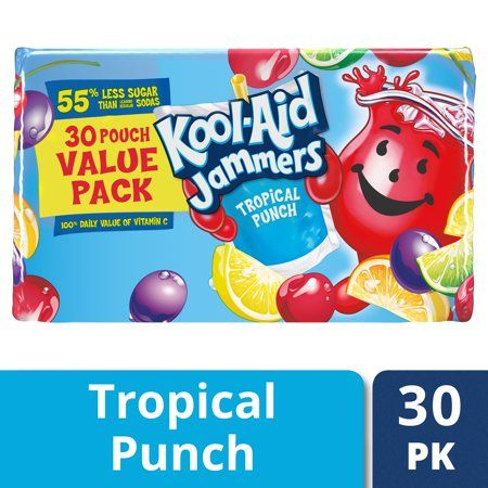Kool Aid Jammers Tropical Punch Artificially Flavored Soft Drink Value Pack 30 Ct Box 6 Fl Oz Pouches Walmart Com Flavored Drinks Kool Aid Tropical Punch