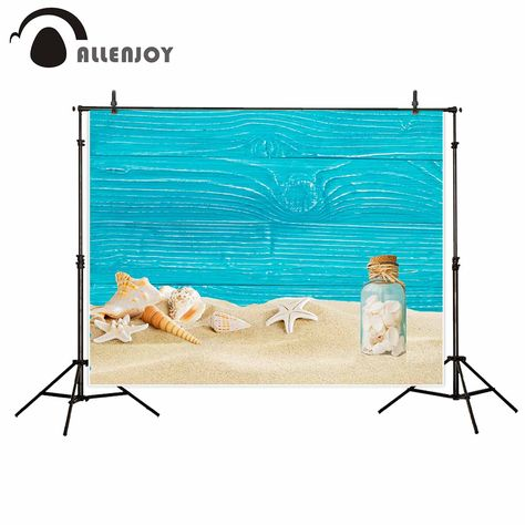 Allenjoy Blue Wood Sand Beach Theme Background Conch Backgrounds