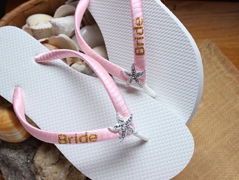 5a356ce42671fd Personalized flip flops Light Pink Satin Yellow Gold glitter Starfish. Bride  sandals