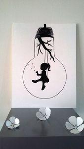 "Poster Illustration Schwarz-Weiß-Birne ""fly me"": Plakate, Illustrati ..."