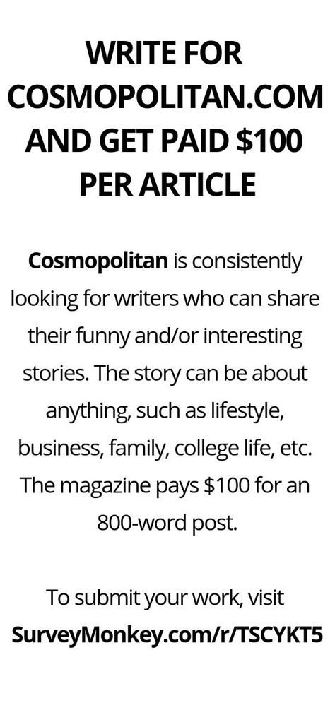 WRITE FOR COSMOPOLITAN.COM AND GET PAID $100 PER ARTICLE