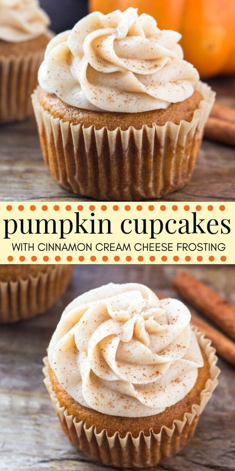 Dessert Recipes These pumpkin cupcakes with cinnamon cream cheese frosting are the only pumpkin cupcake recipe you need. They're moist, extra soft, filled with pumpkin spice and topped with the fluffiest, creamiest frosting around. Pecan Desserts, Mini Desserts, Holiday Desserts, Chocolate Desserts, Cinnamon Desserts, Healthy Desserts, Halloween Desserts, Halloween Cupcakes, Party Desserts